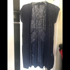 Navy Blue Open Knit Cardigan